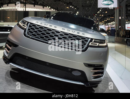 Manhattan, New York, USA. April 12, 2017. Land Rover 2018 Range Rover VELAR, medium SUV, makes its North Amerian - Stock Image