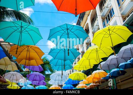 Umbrellas in Port Louis, Mauritius - Stock Image