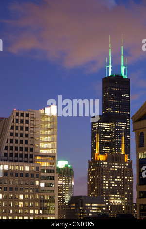 The Willis Tower at dusk, Chicago - Stock Image