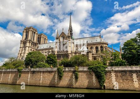 View of famous Notre-Dame de Paris Cathedral under beautiful sky in Paris, France. - Stock Image