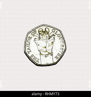 Limited edition British 50p piece coin commemorating Beatrix Potter character The Tailor of Gloucester - Stock Image