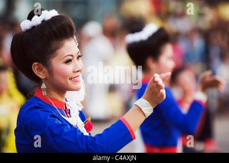 Thailand, Sakhon Nakhon, Sakhon Nakhon.  Phu Thai dancers at the Bai See Su Khwan (blessing ceremony) - Stock Image