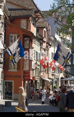 Switzerland Zurich Augustinergasse old city center swiss flaggs - Stock Image
