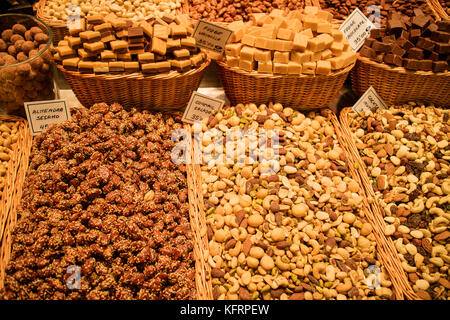 Market background made from different kinds of nuts. - Stock Image