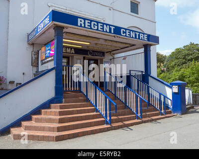 The Regent Cinema front entrance steps in Newtown, Powys Wales UK. - Stock Image