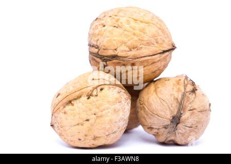 Walnuts isolated on white background. - Stock Image