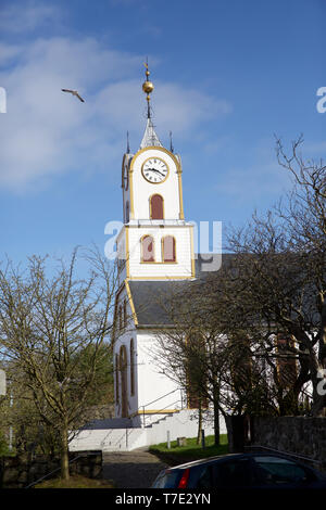 Torshavn,Faroe Islands,7th May 2019,Blue skies over Tórshavn Cathedral in the Faroe Islands, despite snowfall early this morning due to an Arctic Blast. Credit: Keith Larby/Alamy Live News - Stock Image