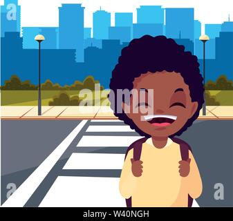 school boy with bag in the city street cityscape background vector illustration - Stock Image