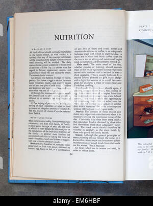 Nutrition Chapter Page from Mrs Beetons Everyday Cookery Book - Stock Image