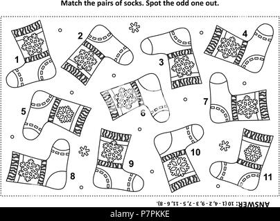 IQ training visual logic puzzle and coloring page with Santa's (or somebody's else) knitted socks. Match the pairs. Spot the odd one out. - Stock Image