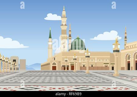 A vector illustration of Medina Mosque in Saudi Arabia - Stock Image