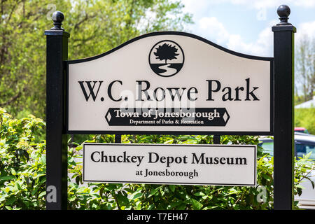 JONESBOROUGH, TN, USA-4/28/19: The Chuckey Depot Museum is advertised by the sign in W. C. Rowe Park. - Stock Image