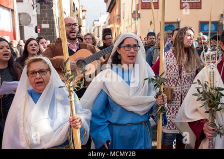 Tenerife, Canary Islands, Palm Sunday  Holy Week procession in the town of Laguna. - Stock Image