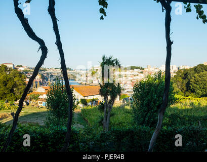 View from Vinum, the restaurant and wine bar at Graham's Port Lodge, Vila Nova de Gaia, Porto, Portugal. - Stock Image