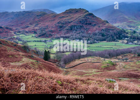 Helm Crag and Seat Sandal, seen from the lower flanks of Silver How, near  Grasmere, Lake District, Cumbria - Stock Image