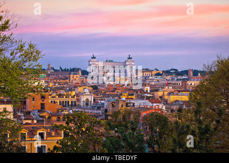 Rome colorful cityscape sunset view, capital city of Italy - Stock Image