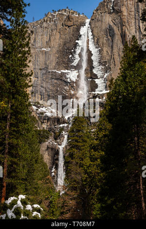 The iconic Yosemite Falls in the winter. - Stock Image