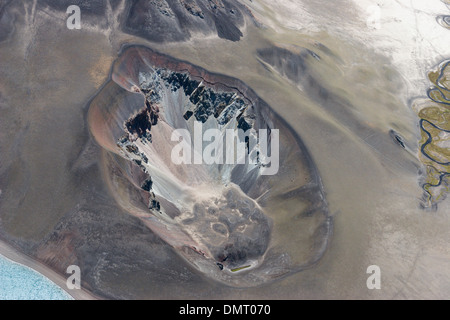 volcano Andes mountains Chile desolate colorful barren vents lava flow montanas Cero Azul Descabazado Volcano - Stock Image
