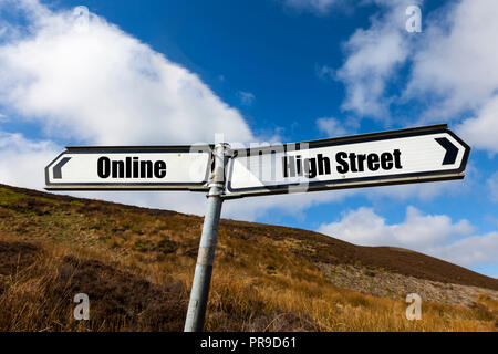 Online, High Street, shopping, concept, Online shopping, High street shopping, dying high street, UK, buying, buying online, purchases, future, shop - Stock Image
