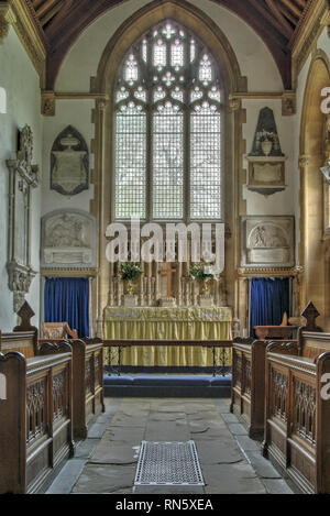 Interior of the 14th century church of  St Cyriac in the historic village of Lacock, Wiltshire, UK - Stock Image