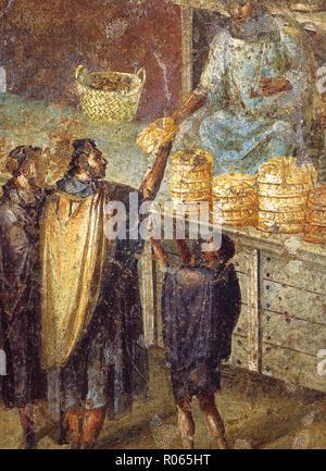 6390. Pompey, fresco depicting people buying bread. - Stock Image