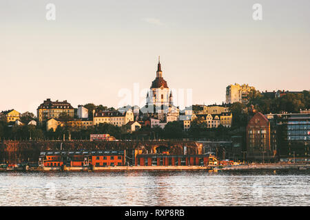 Stockholm cityscape view touristic central popular landmarks city in Sweden Europe  travel - Stock Image