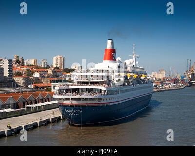 Portugal, Lisbon, MV Boudicca at cruise terminal looking towards Campo de Sta Clara - Stock Image