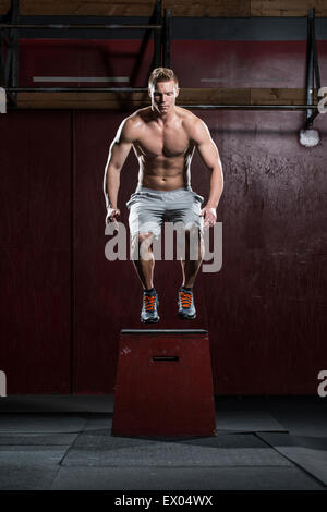 Man standing on vaulting horse - Stock Image