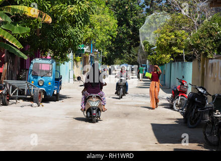 The Maldives - local street scene, Ukulhas Island, Alif Alif atoll, Maldives, Asia - Stock Image