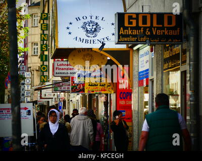 Munich Goethestrasse Goethe street Muslim Arabic money exchange pawn shop Germany Europe - Stock Image
