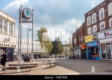 Centenary 2005 clock on George Street in Luton, Bedfordshire, UK. George street is a pedestrianised Street with shops. - Stock Image