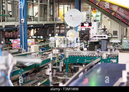 Tenerife, Spain - January 3, 2018 : Banana factory packaging line in Tenerife, Canary islands Spain - Stock Image
