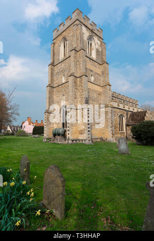 View of the tower of St John The Baptist Church  - a medieval parish church in the Suffolk village of Stoke by Clare, England, UK. - Stock Image