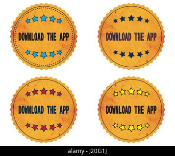 DOWNLOAD THE APP text, on round wavy border vintage stamp badge, in color set. - Stock Image
