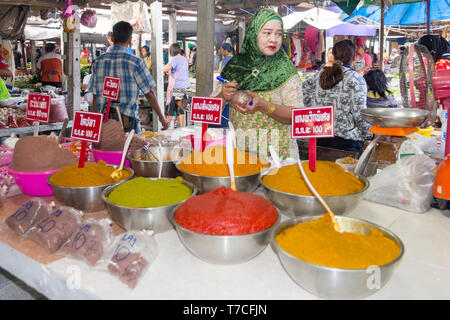 Nakhon SI Thammarat, Thailand-February 11th 2015.  A spice vendor on the market. The market is open every morning. - Stock Image