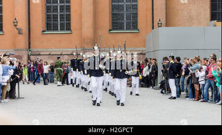 Change of the Guards Parade Royal Palace Stockholm Sweden - Stock Image