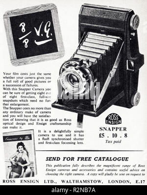 Original 1950s vintage old print advertisement from English magazine advertising The Snapper film camera by Ross Ensign circa 1954 - Stock Image