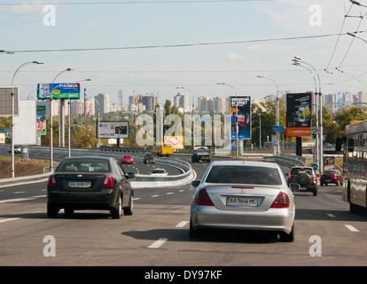 Cars on a carriageway in Kiev Ukraine - Stock Image