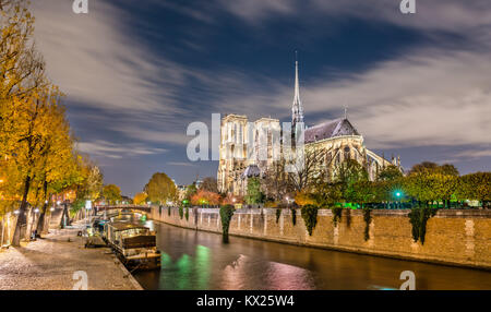 View of Notre-Dame de Paris from the banks of the Seine at night - Stock Image