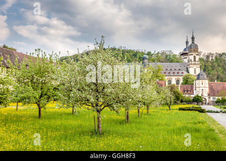 geography / travel, Germany, Baden-Wuerttemberg, garden of monastery Schoental (Schoen Valley) at the Jagst (river), - Stock Image