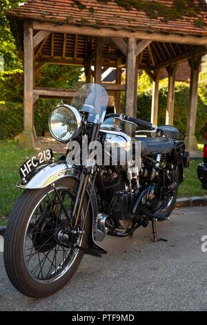 England, Berkshire, Aldworth, restored 1930s Brough Superior motorcycle - Stock Image