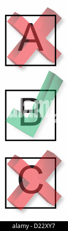 Check boxes with right and wrong symbols. - Stock Image