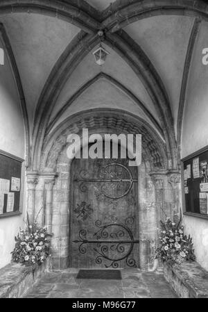 The Door to St Giles Church in Bredon, Worcestershire - Stock Image