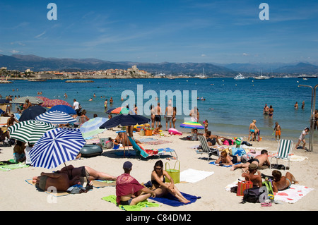 Antibes, South of France, the beach at high summer - Stock Image
