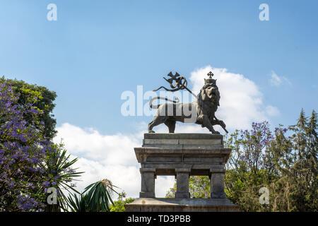 A statue of The Lion of Judah, a symbol of Ethiopia, Addis Ababa, Ethiopia. - Stock Image