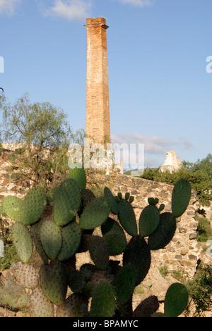 Smokestack, nopal cactus, and ruins at the 19th century Mina Santa Brigida mine, Mineral de Pozos, Guanajuato, Mexico - Stock Image