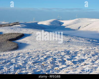 View from a snowy Nether Oliver Dod, near Tweedsmuir, Southern Uplands, Scotland - Stock Image