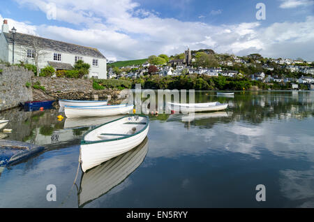 Noss Mayo viewed across the river Yealm  from Newton Ferrers Devon - Stock Image