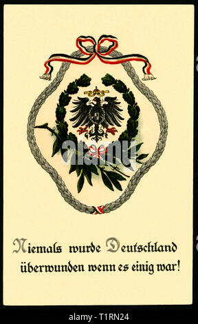 Germany, Berlin, WW I, propaganda, patriotic postcard with the text: 'Germany was never overcome, if it was agreed ! ' with laurel wreath, sent 10. 08. 1916. , Additional-Rights-Clearance-Info-Not-Available - Stock Image