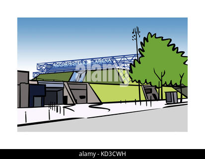Illustration of AccorHotels Arena (formerly Palais Omnisports de Paris Bercy) in Paris, France - Stock Image
